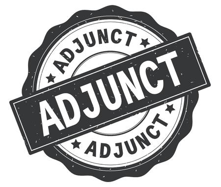 ADJUNCT text, written on grey, lacey border, round vintage textured badge stamp. 版權商用圖片