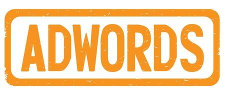 ADWORDS text, on orange border rectangle vintage textured stamp sign with round corners.