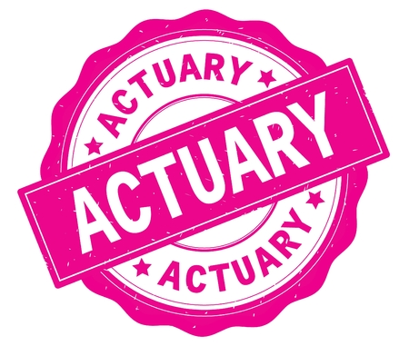 ACTUARY text, written on pink, lacey border, round vintage textured badge stamp.