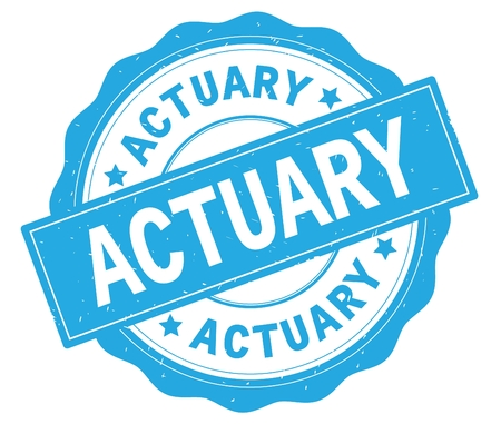 ACTUARY text, written on cyan, lacey border, round vintage textured badge stamp.