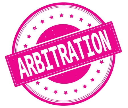 ARBITRATION text, on round vintage rubber stamp sign with stars, magenta pink color.