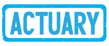ACTUARY text, on cyan border rectangle vintage textured stamp sign with round corners.