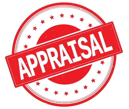 APPRAISAL text, on round vintage rubber stamp sign with stars, red color. Stock Photo - 89037947