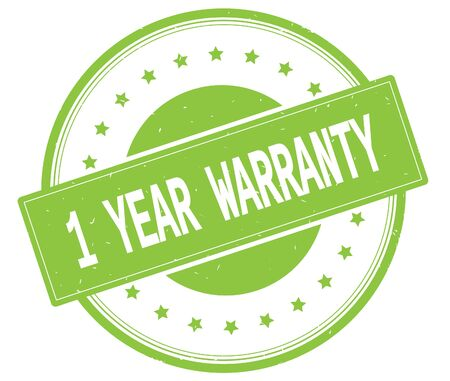 1 year warranty: 1 YEAR WARRANTY text, on round vintage rubber stamp sign with stars, green color.