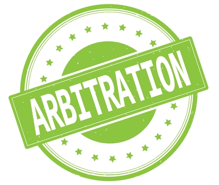 ARBITRATION text, on round vintage rubber stamp sign with stars, green color. Stock Photo