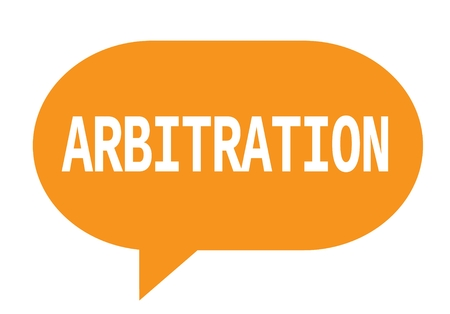 ARBITRATION text in orange speech bubble simple sign with rounded corners. Stock Photo