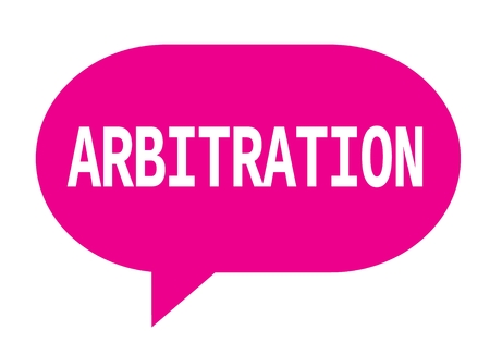 ARBITRATION text in pink speech bubble simple sign with rounded corners. Stock Photo