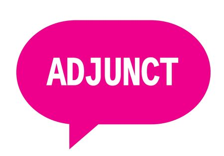 ADJUNCT text in pink speech bubble simple sign with rounded corners. 版權商用圖片