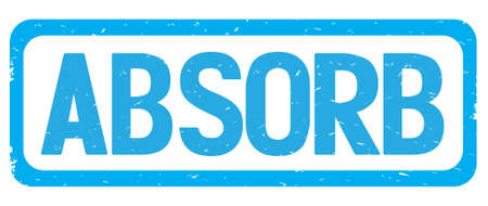 absorb: ABSORB text, on cyan border rectangle vintage textured stamp sign with round corners.