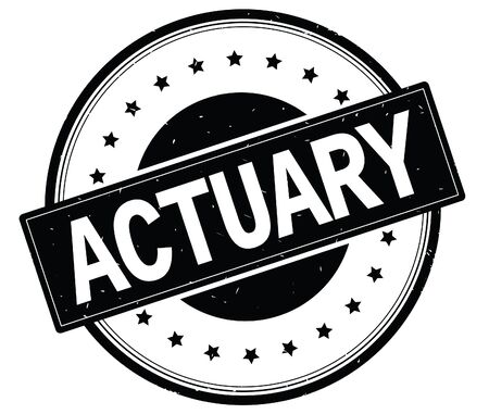 ACTUARY text, on round vintage rubber stamp sign with stars, black color.