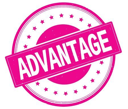 ADVANTAGE text, on round vintage rubber stamp sign with stars, magenta pink color.