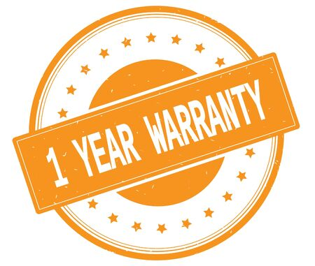 1 year warranty: 1 YEAR WARRANTY text, on round vintage rubber stamp sign with stars, orange color. Stock Photo