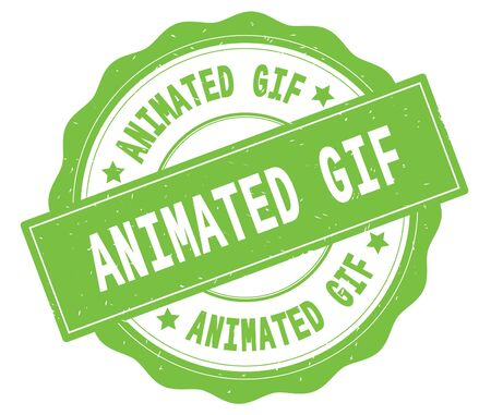 ANIMATED GIF text, written on green, lacey border, round vintage textured badge stamp.
