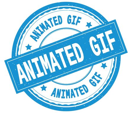 ANIMATED GIF , written text on cyan round rubber vintage textured stamp.