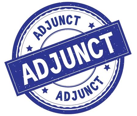 ADJUNCT , written text on blue round rubber vintage textured stamp. 版權商用圖片