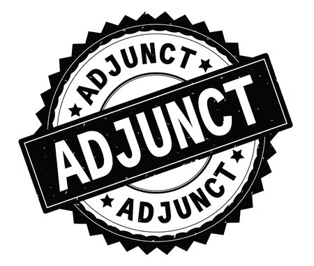 ADJUNCT black text round stamp, with zig zag border and vintage texture.