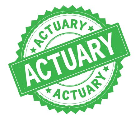 ACTUARY green text round stamp, with zig zag border and vintage texture. Stock Photo