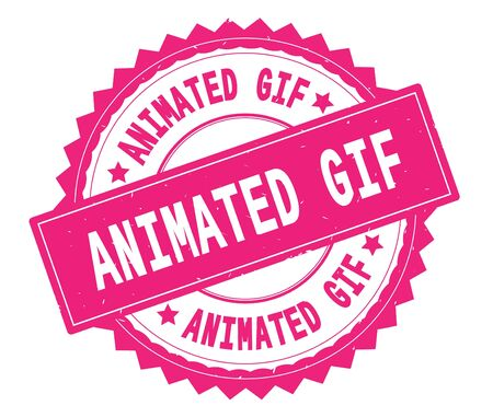 ANIMATED GIF pink text round stamp, with zig zag border and vintage texture.
