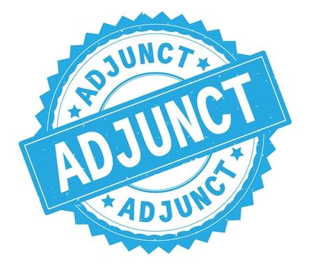 ADJUNCT blue text round stamp, with zig zag border and vintage texture. 版權商用圖片