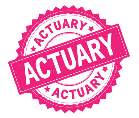 ACTUARY pink text round stamp, with zig zag border and vintage texture. Stock Photo