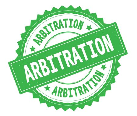 ARBITRATION green text round stamp, with zig zag border and vintage texture. Stock Photo