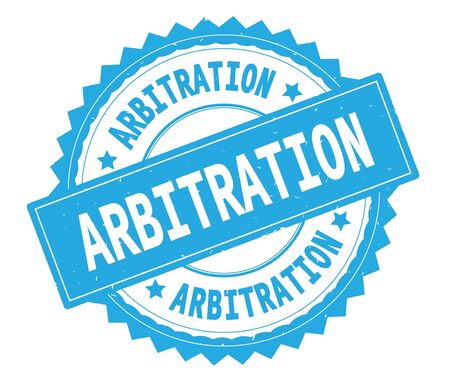 ARBITRATION blue text round stamp, with zig zag border and vintage texture.