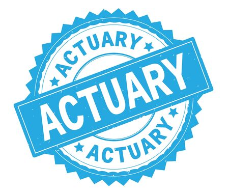 ACTUARY blue text round stamp, with zig zag border and vintage texture. Stock Photo