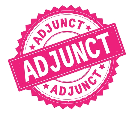 ADJUNCT pink text round stamp, with zig zag border and vintage texture.