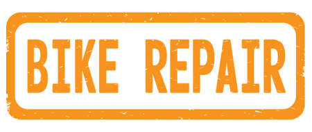 BIKE REPAIR text, on orange border rectangle vintage textured stamp sign with round corners.