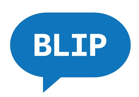 BLIP text in blue speech bubble simple sign with rounded corners.