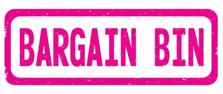 BARGAIN BIN text, on pink border rectangle vintage textured stamp sign with round corners. Stock Photo