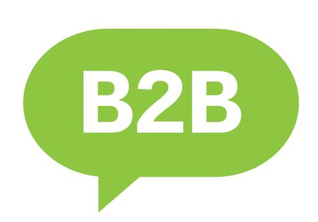 b2b: B2B text in green speech bubble simple sign with rounded corners.