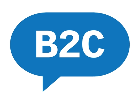 B2C text in blue speech bubble simple sign with rounded corners. Stock Photo