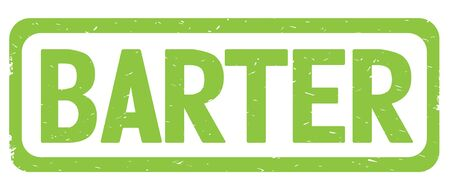 BARTER text, on green border rectangle vintage textured stamp sign with round corners.