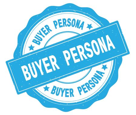 BUYER PERSONA text, written on cyan, lacey border, round vintage textured badge stamp. Stock Photo