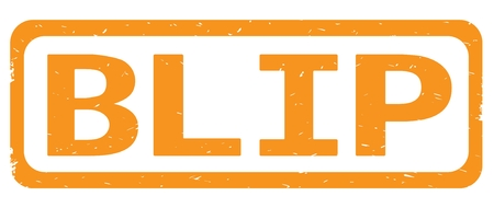 BLIP text, on orange border rectangle vintage textured stamp sign with round corners. Stock Photo