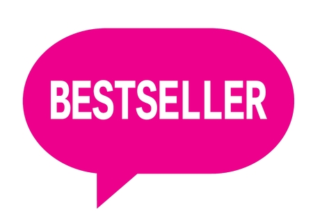 BESTSELLER text in pink speech bubble simple sign with rounded corners.
