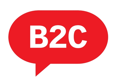 B2C text in red speech bubble simple sign with rounded corners.