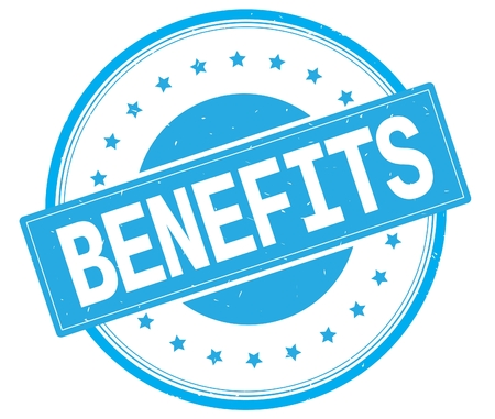 BENEFITS text, on round vintage rubber stamp sign with stars, cyan color.