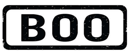 BOO text, on black border rectangle vintage textured stamp sign with round corners. Stock Photo