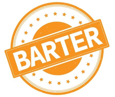 BARTER text, on round vintage rubber stamp sign with stars, orange color.