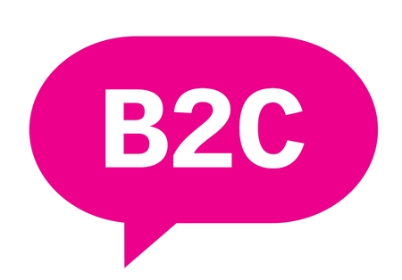 B2C text in pink speech bubble simple sign with rounded corners. Stock Photo