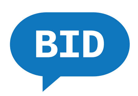 BID text in blue speech bubble simple sign with rounded corners.