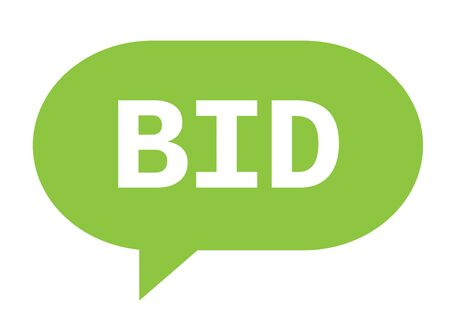 BID text in green speech bubble simple sign with rounded corners. Stock Photo