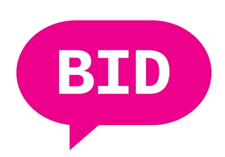 bid text in pink speech bubble simple sign with rounded corners stock photo 89203954