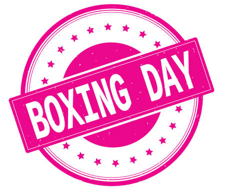 boxing day: BOXING DAY text, on round vintage rubber stamp sign with stars, magenta pink color.