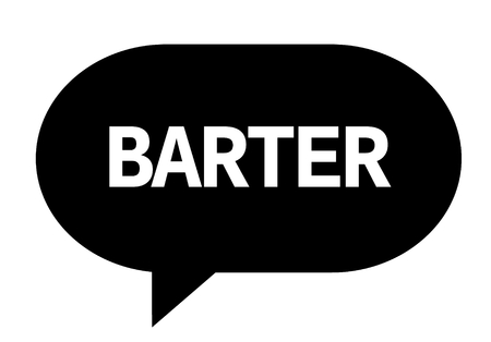 BARTER text in black speech bubble simple sign with rounded corners.