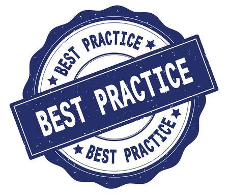 최고의 연습 텍스트, 파란색, 레이시 테두리에 작성 된 라운드 빈티지 질감 된 배지 스탬프. 스톡 콘텐츠