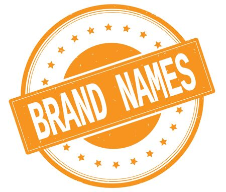 BRAND NAMES Text On Round Vintage Rubber Stamp Sign With Stars Orange Color