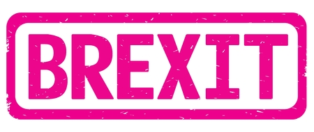 BREXIT text, on pink border rectangle vintage textured stamp sign with round corners.